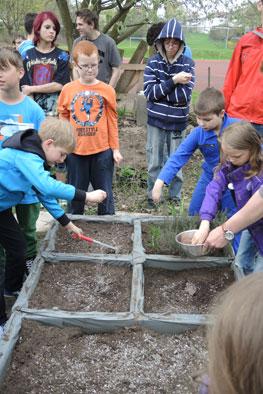 Düngen im Schulgarten