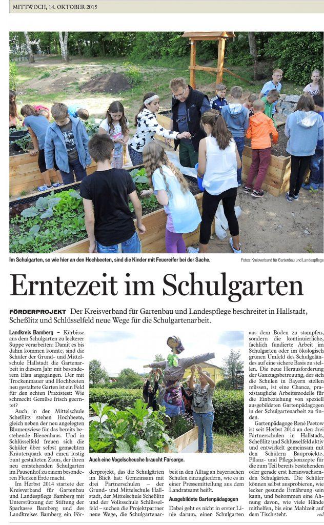 Erntezeit im Schulgarten - Gartenpaedagogik
